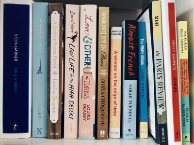 paperback memoir spines on a shelf