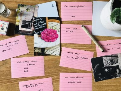 index cards and pictures of Paris illustrate how to outline your memoir