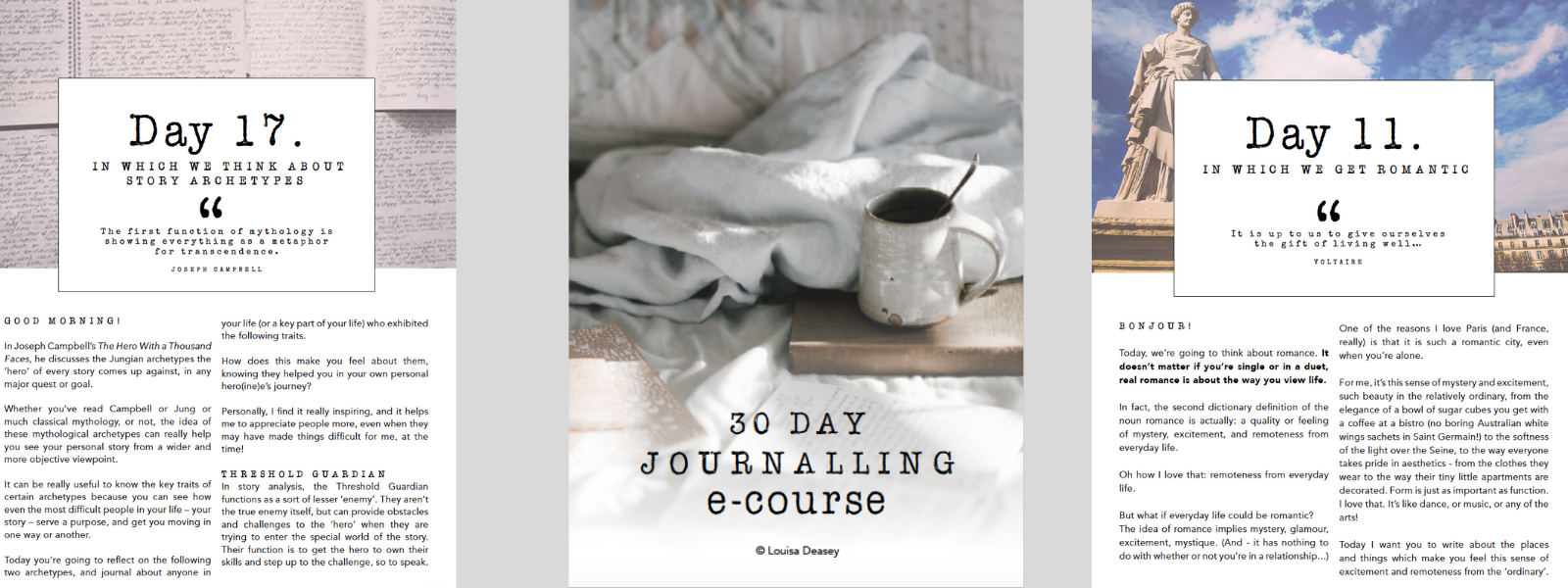 snapshot of some of the journalling course material