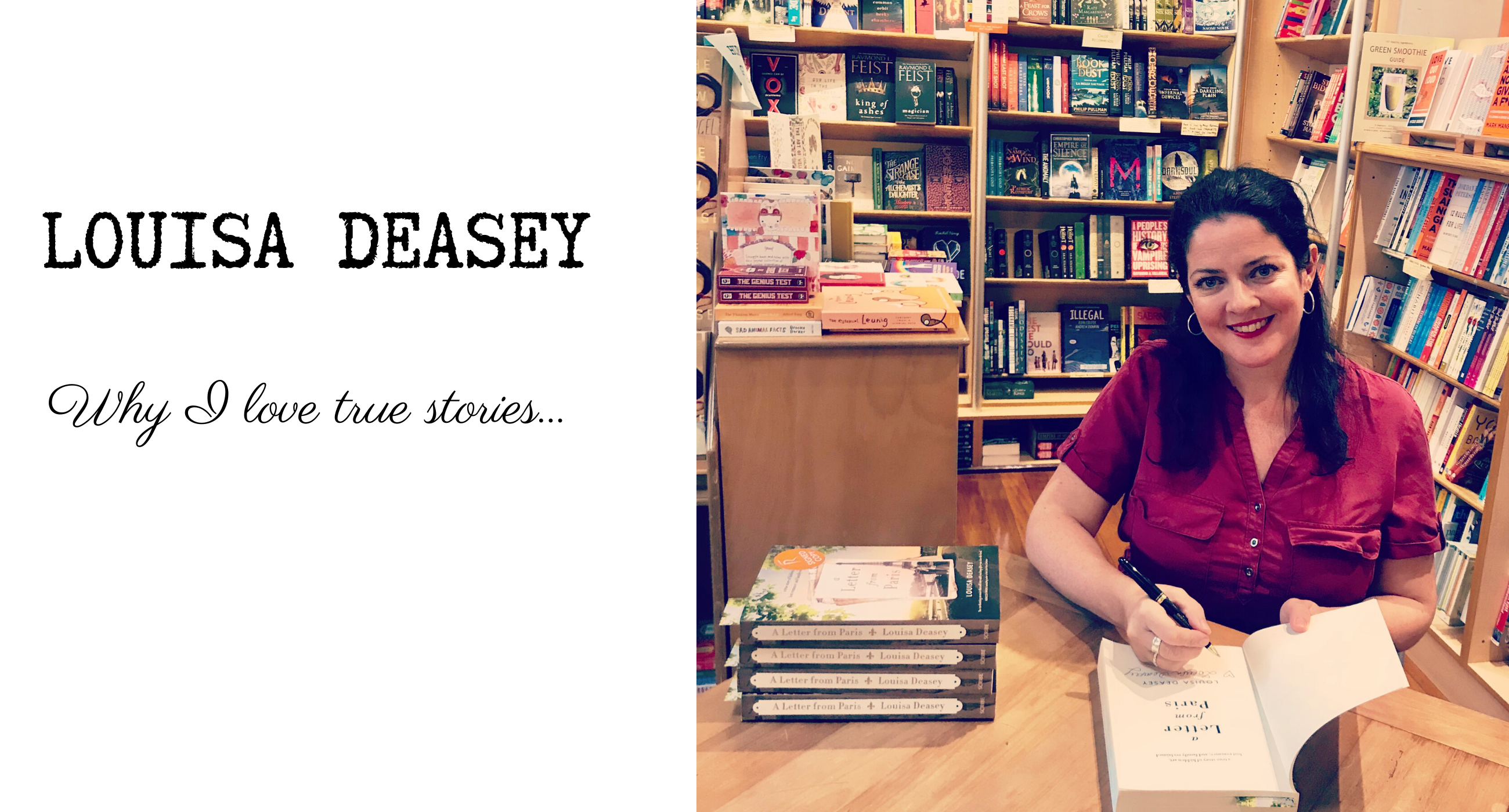 Louisa Deasey signing copies of A Letter From Paris at Riverbend Books