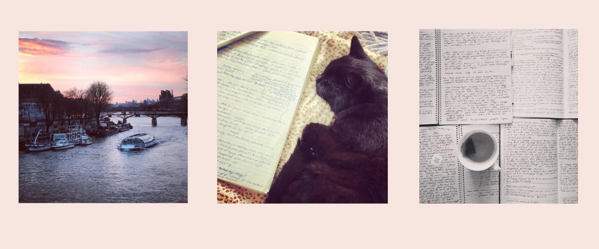 Photo of Paris, a cat and a handwritten journal, and a cup of tea on handwritten journals